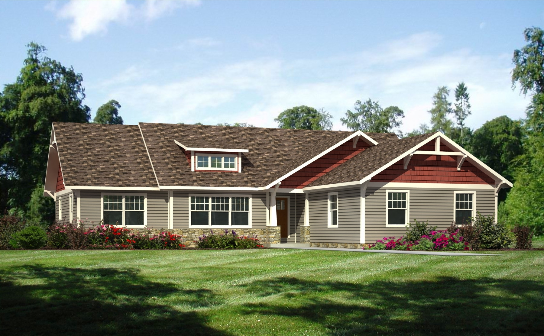 Wmh hudson craftsman ranch rendering sk1 saratoga for L shaped ranch house remodel