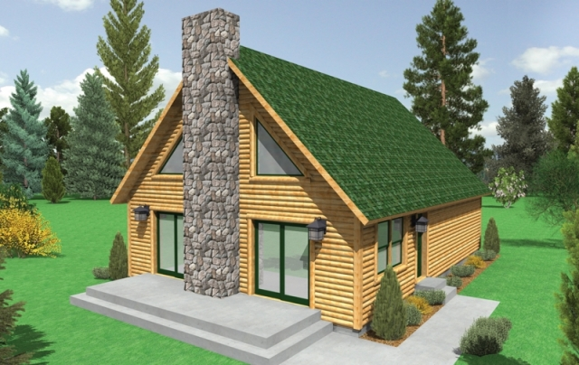 Modular log chalet by Saratoga Modular Homes